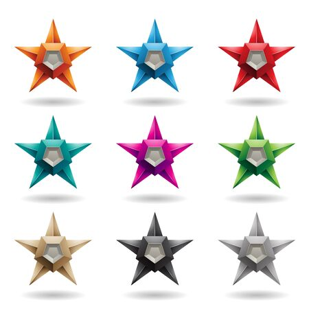 Illustration of Colorful Embossed Stars with Round Loudspeaker Shapes isolated on a White Background Stockfoto - 129964992