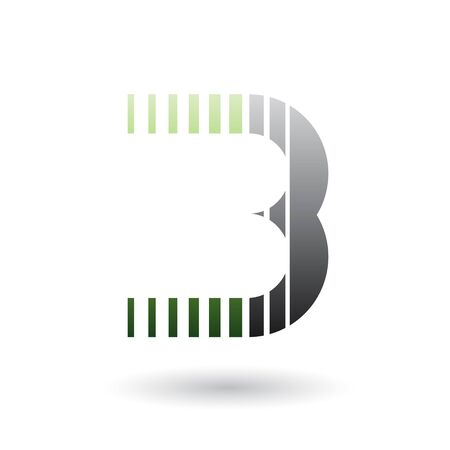 Illustration of a Green and Black Letter B Icon with Vertical Stripes isolated on a White Background