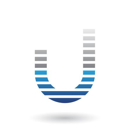 Illustration of Grey and Blue Letter U Icon with Horizontal Thin Stripes isolated on a White Background