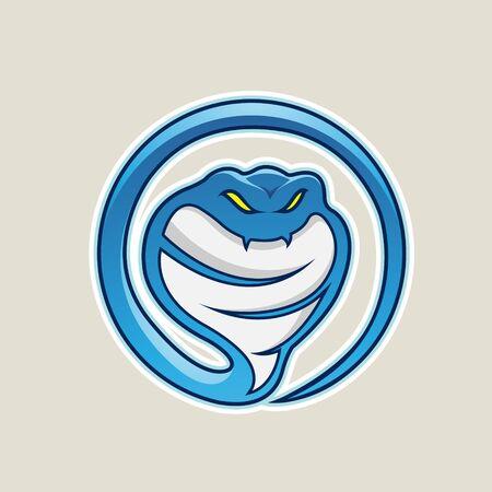 Illustration of Blue Cobra Snake Cartoon Icon isolated on a White Background Stock fotó