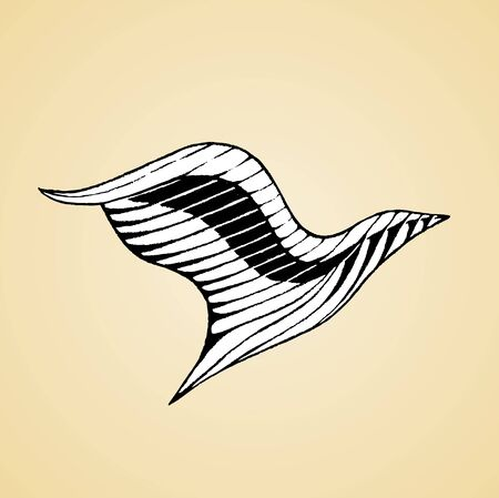 Illustration of a Scratchboard Style Ink Drawing of a Bird with White Fill Stock Photo