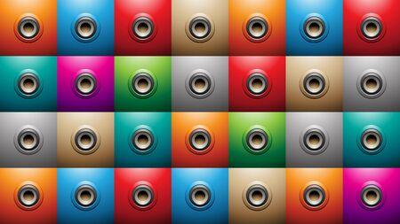 Illustration of Embossed Round Shapes on Colorful Squares Background