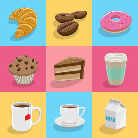Illustration of Coffee and Breakfast Icons on Colorful Backgrounds