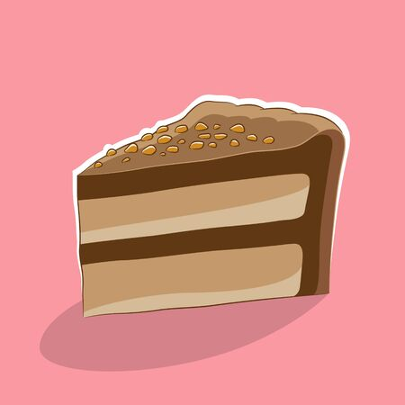 Illustration of Cake Icon on a Pink Background