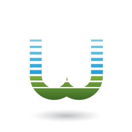 Illustration of Blue and Green Letter W Icon with Horizontal Stripes isolated on a White Background