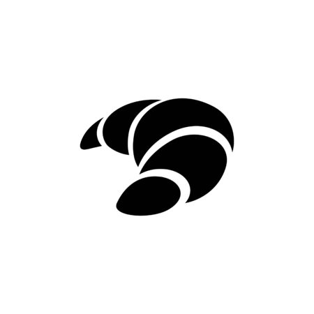 Illustration of Black Croissant Icon isolated on a White Background Фото со стока