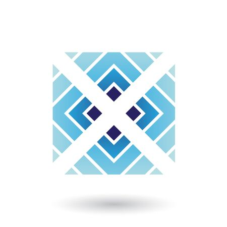 Illustration of Blue Letter X Icon with Square and Triangles isolated on a White Background