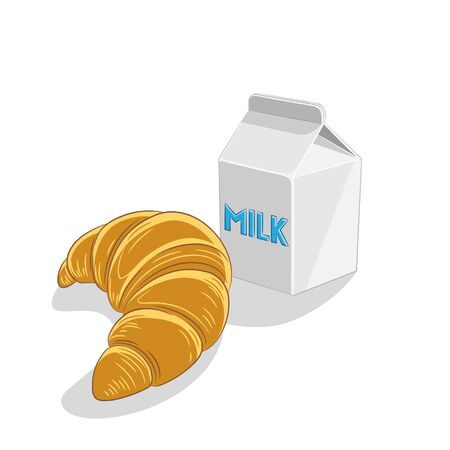 Illustration of Croissant and Milk Breakfast isolated on a white background