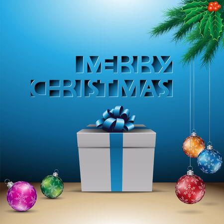 Illustration of Blue Paper Cut Merry Christmas Background Reklamní fotografie