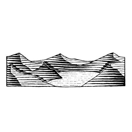 Illustration of a Scratchboard Style Ink Drawing of a Mountain Lake Reklamní fotografie