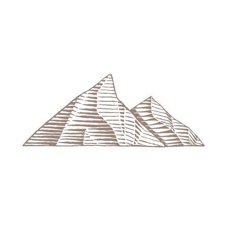 Illustration of Brown Ink Sketch of Mountains isolated on a White Background