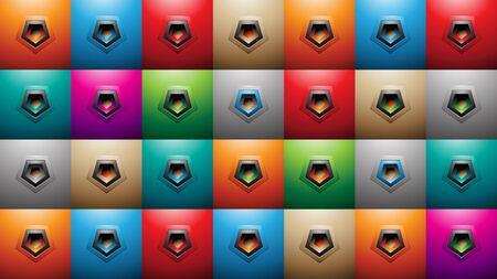Illustration of Embossed Pentagon Shapes on Colorful Squares Background 版權商用圖片