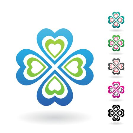 Illustration of Abstract Heart Shaped Four Leaf Clover isolated on a white background 写真素材 - 130016494