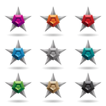 Illustration of Embossed Grey Stars with Colorful Pentagon Shapes isolated on a White Background 版權商用圖片