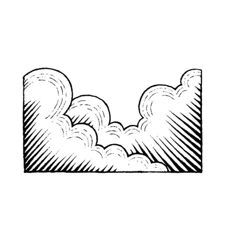Illustration of a Scratchboard Style Ink Drawing of Clouds