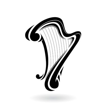 Illustration of a Harp Icon isolated on a white background 写真素材 - 130016836