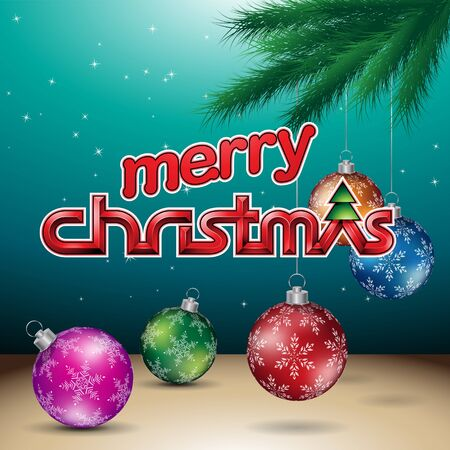 Illustration of Dark Green Glossy Merry Christmas Background Reklamní fotografie