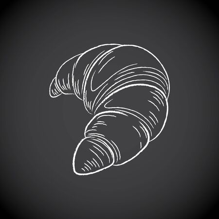 Illustration of Chalkboard Drawing of a Croissant Icon on a Blackboard