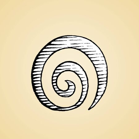 Illustration of a Scratchboard Style Ink Drawing of a Spiral Galaxy Symbol with White Fill Reklamní fotografie