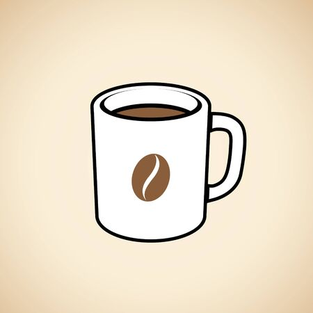 Illustration of Coffee Mug with a Coffee Bean Icon isolated on a Beige Background