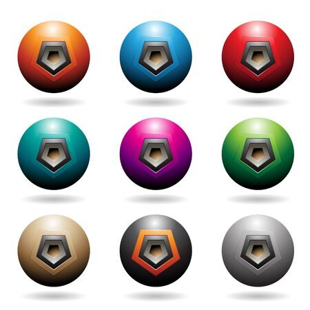 Illustration of Colorful Embossed Sphere Loudspeaker Icons with Pentagon Shapes isolated on a white background