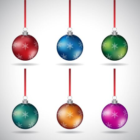 Illustration of Christmas Balls with Abstract Designs and Red Ribbon isolated on a White Background