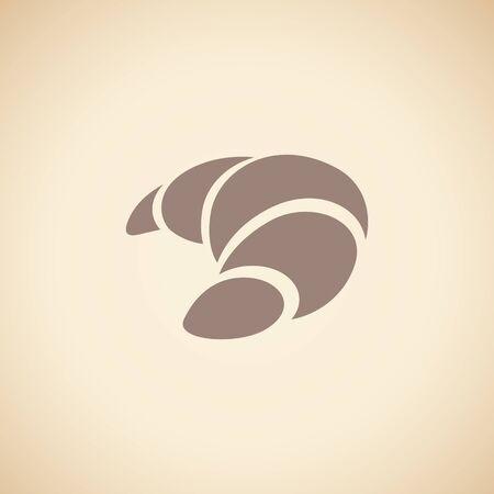 Illustration of Brown Croissant Icon isolated on a Beige Background