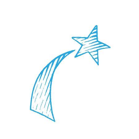 Illustration of Blue Ink Sketch of Shooting Star isolated on a White Background Reklamní fotografie