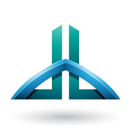 Illustration of Blue and Green Bridged Skyscraper-like Letters of D and B isolated on a White Background 스톡 콘텐츠