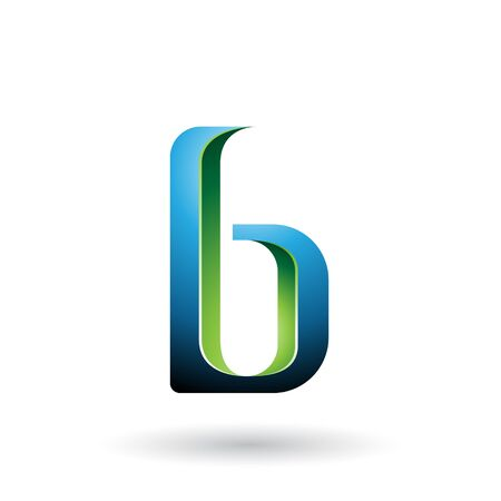 Illustration of Blue and Green Shaded Letter B isolated on a White Background