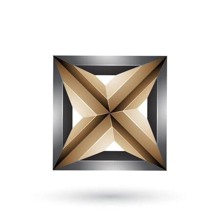 Illustration of Black and Beige 3d Geometrical Embossed Square and Triangle Shape isolated on a White Background Stock Photo
