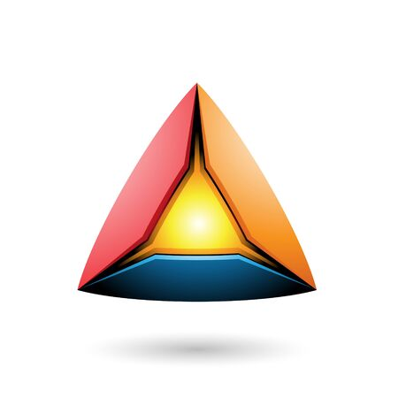 Illustration of Blue Red and Orange Pyramid with a Glowing Core isolated on a white background Stock Photo
