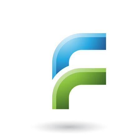 Illustration of a Blue and Green Letter F with Round Corners isolated on a White Background Stock Photo