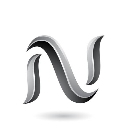 Illustration of Grey Glossy Snake Shaped Letter N isolated on a White Background Stockfoto