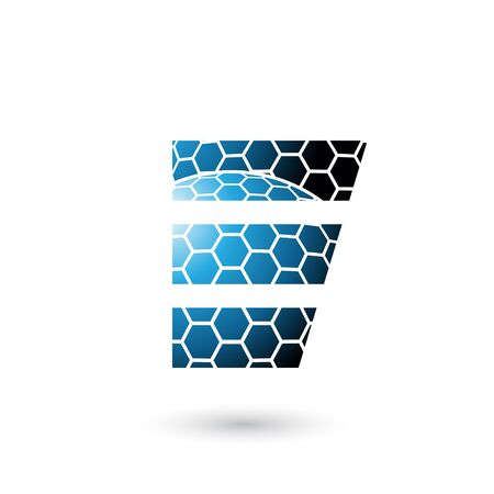 Illustration of Blue Letter E with Honeycomb Pattern isolated on a White Background