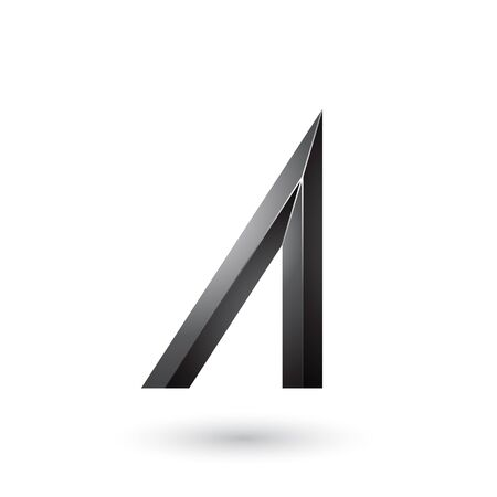 Illustration of Black Geometrical Glossy Letter A isolated on a White Background Stock Photo