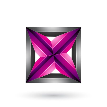 Illustration of Black and Magenta 3d Geometrical Embossed Square and Triangle Shape isolated on a White Background