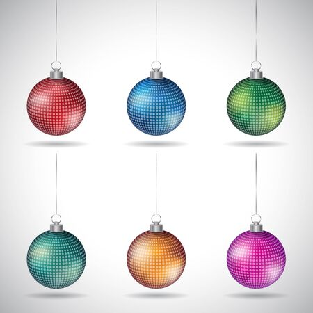 Illustration of Christmas Balls with Abstract Designs and Silver String isolated on a White Background Stockfoto