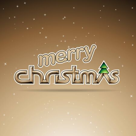Illustration of Sepia Glossy Merry Christmas Text Design