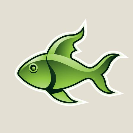 Illustration of Green Fish or Pisces Icon isolated on a White Background