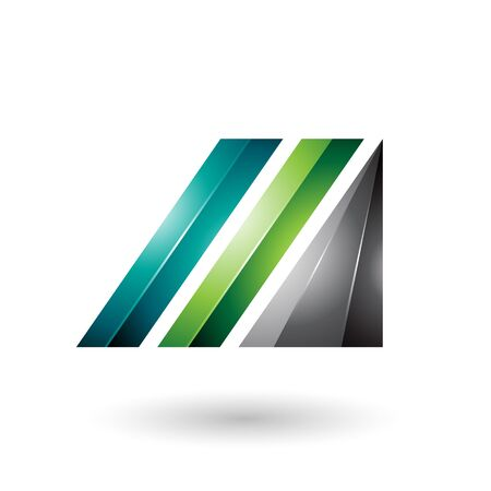 Illustration of Light and Dark Green Letter M of Glossy Diagonal Bars Stock Photo
