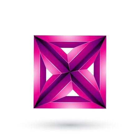 Illustration of Magenta 3d Geometrical Embossed Square and Triangle X Shape isolated on a White Background