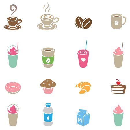 Illustration of Colorful Coffee and Breakfast Icons on a White Background