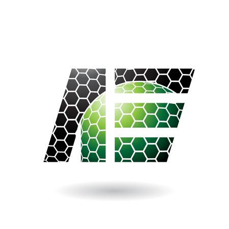 Illustration of Black and Green Dual Letters of A and E with Honeycomb Pattern isolated on a White Background