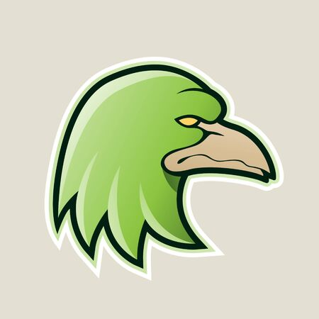 Illustration of Green Eagle Head Cartoon Icon isolated on a White Background Stock Photo