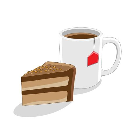 Illustration of Chocolate Cake and Coffee Mug Breakfast isolated on a white background