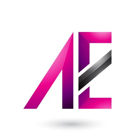 Illustration of Magenta and Black Geometrical Dual Letters of A and E isolated on a White Background