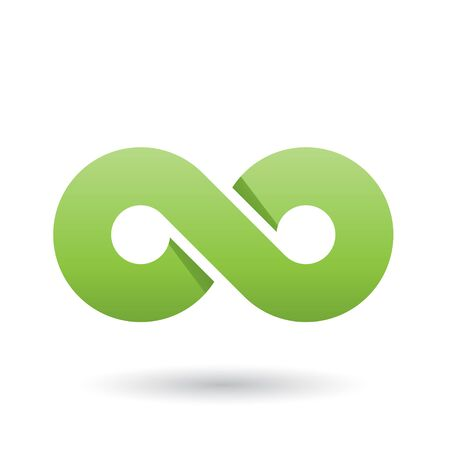 Illustration of Green Thick Infinity Symbol isolated on a White Background Stock Photo