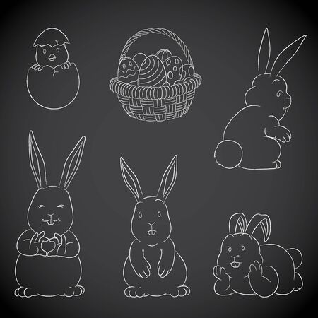 Illustration of Chalkboard Vector Drawings of Easter Bunnies Eggs Basket and Chick on a Blackboard