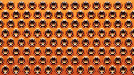Illustration of Black and Orange Embossed Round Loudspeaker Background